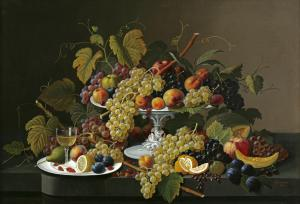 Still Life of Fruit and Wine on a Table by Severin Roesen