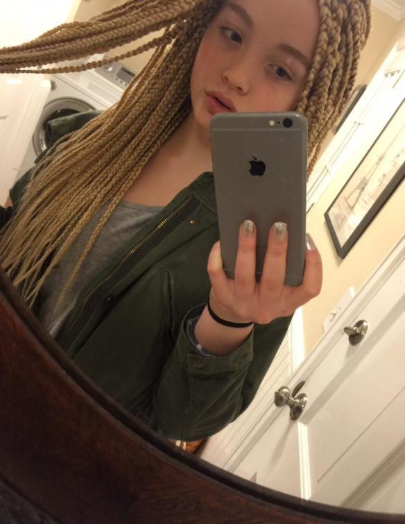 Blonde Kid with Box Braids