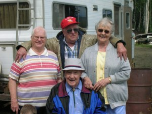 Ellis and Betty (right and center-bottom) with Patty and Frank Merrigan (left and center-top)